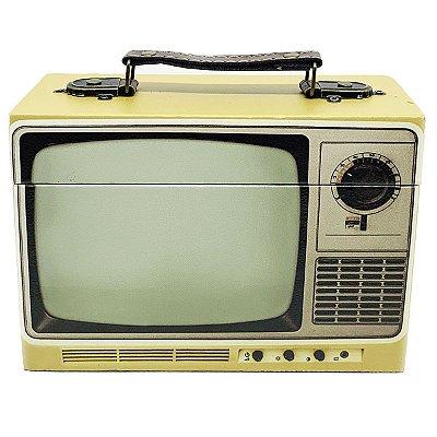 Caixa Decorativa de madeira TV retrô - amarelo