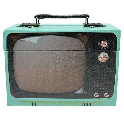 Caixa Decorativa de madeira TV retrô - verde