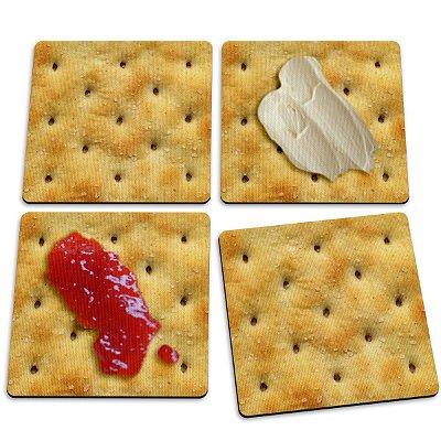 Jogo de Porta Copos Bolacha Cracker - 4 peças
