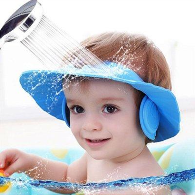 Chapéu de banho para bebês Protege olhos e ouvidos - azul
