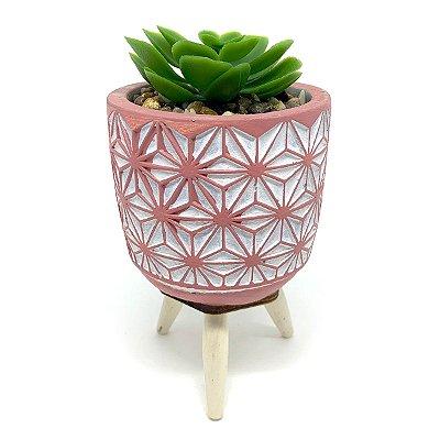 Vasinho Decorativo planta suculenta artificial - rosa