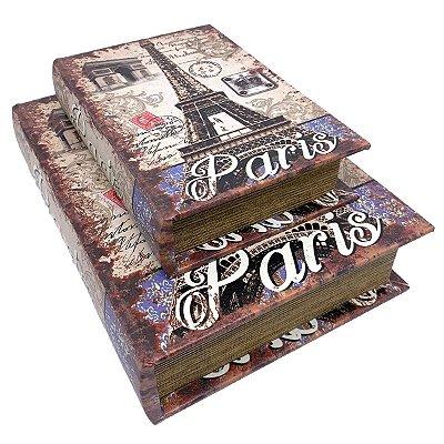 Kit Caixa Livro Decorativa Paris Torre Eiffel - 2 peças