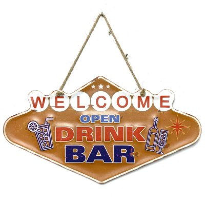 Placa de Metal Decorativa Welcome Open Drink Bar