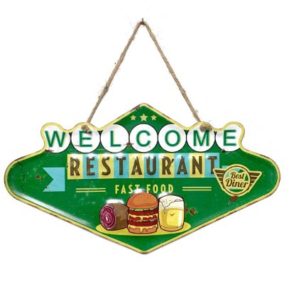 Placa de Metal Decorativa Welcome Restaurant Fast Food