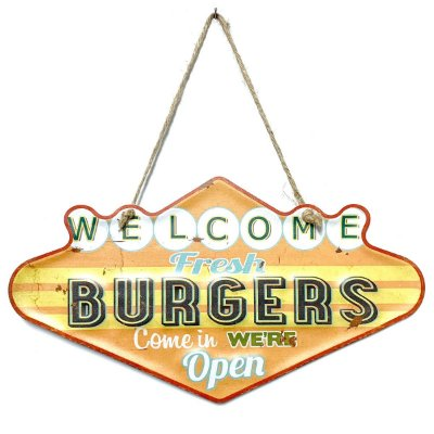 Placa de Metal Decorativa Welcome Fresh Burgers