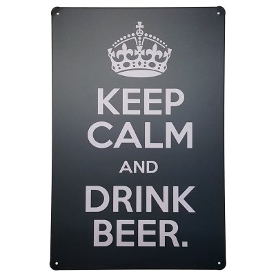 Placa de Metal Decorativa Keep Calm Drink Beer