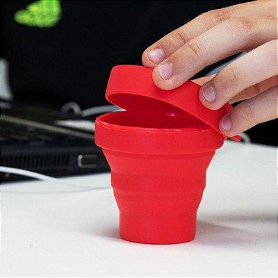 Copo Retrátil Dobrável Sanfonado em silicone com tampa
