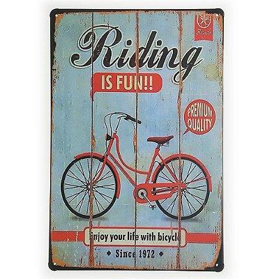 Placa de Metal Decorativa Riding is Fun