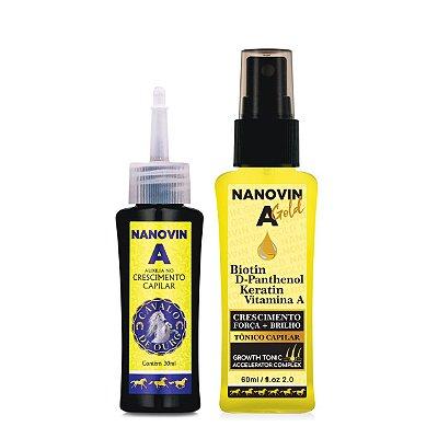 KIT DE CRESCIMENTO CAPILAR - NANOVIN A 30 ml e NANOVIN GOLD 60 ml