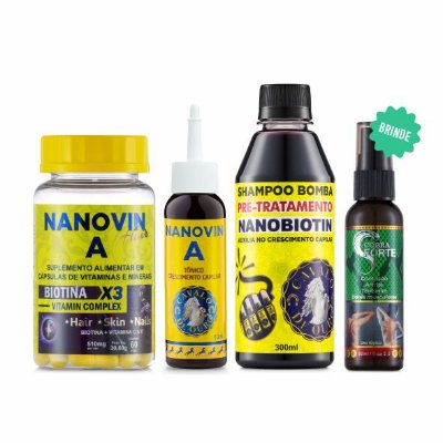 KIT GROWTHING HAIR TREATMENT - NANOVIN A - SHAMPOO ANTIQUEDA 300ML + TÔNICO MULTIVITAMÍNICO 60ML + SUPLEMENTO CABELOS E UNHAS 60 DIAS + BRINDE COBRA FORTE 60ML - ANTICELULITE E DORES MUSCULARES