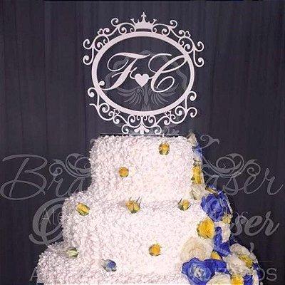Topo de Bolo Brasão com Coroa (Personalizado com Iniciais que o Cliente Desejar) - TBB 00111A