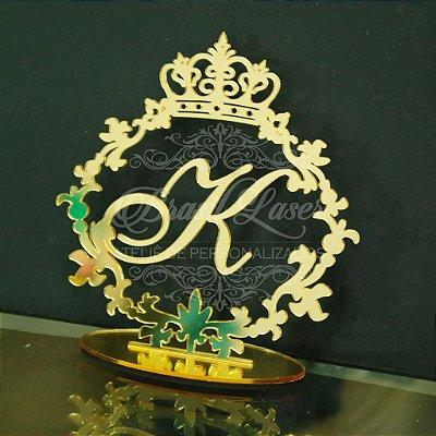 Topo de Bolo Brasão com Coroa (Personalizado com Inicial que o Cliente Desejar) - TBB 00117A