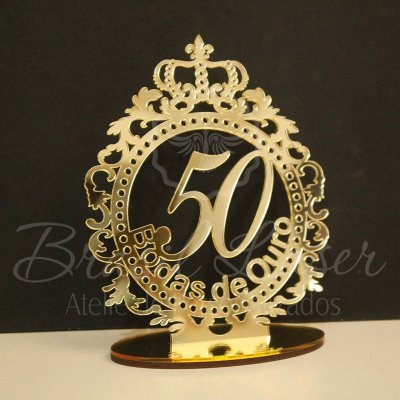 Topo de Bolo Brasão Bodas de Ouro (Personalizado com Idade e o nome das Bodas que o Cliente Desejar) - TBB 00135A