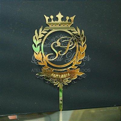 Topo de Bolo Brasão e Coroa (Personalizado com Iniciais que o Cliente Desejar) - TBB 00147A