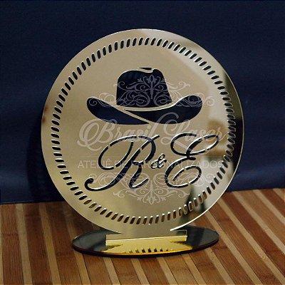 Topo de Bolo Brasão Cowboy (Personalizado com Iniciais que o Cliente Desejar) - TBB 00150A