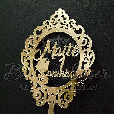 Topo de Bolo Brasão Princesa (Personalizado com Nome e Idade que o Cliente Desejar) - TBB 00153A
