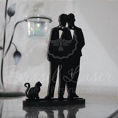 Topo de Bolo Casal Homoafetivo Gay LGBT com Gato - TBC 00558A