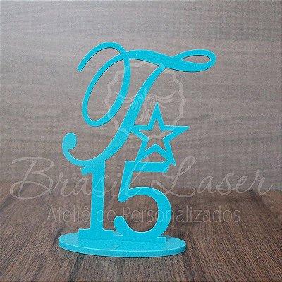 Topo de Bolo Estrela (Personalizado com Inicial e Idade que o Cliente Desejar) - TBV 01014A