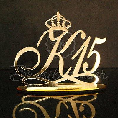 Topo de Bolo com Coroa (Personalizado com Inicial e Idade que o Cliente Desejar) - TBV 01015A