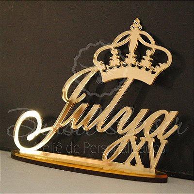 Topo de Bolo com Coroa (Personalizado com Nome e Idade que o Cliente Desejar) - TBV 01026A