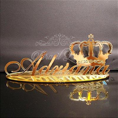 Topo de Bolo com Coroa (Personalizado com Nome que o Cliente Desejar) - TBV 01031A