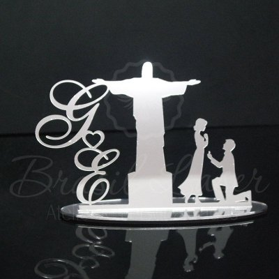Topo de Bolo Cristo Redentor (Personalizado com Iniciais que o Cliente Desejar) - TBV 01049A