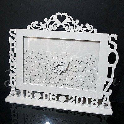 Quadro de Assinaturas Sr & Sra Pintado com Acrílico Espelhado Personalizado com o Sobrenome do Casal e a Data do Evento - QAV 01009A