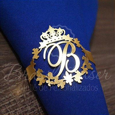 1 Porta Guardanapo em Courvin Coroa com a Inicial(is) que desejar - #Quant.Mínima: 10 unidades iguais# PGC 03010A