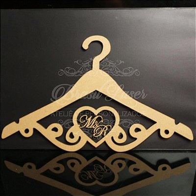 Cabide Personalizado Coração com as Inicial(is) dos Noivos ou Debutante - CAV 01011A