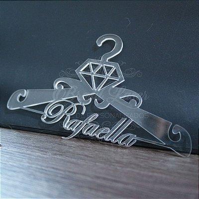 Cabide Personalizado Diamante com o(s) Nome(s) dos Noivos ou Debutante XV 15 Anos - CAV 01052A