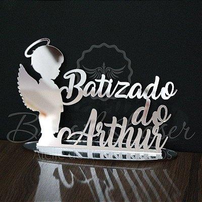Topo de Bolo Batizado Anjo (Personalizado com o Nome que o Cliente Desejar) - TBV 01097A