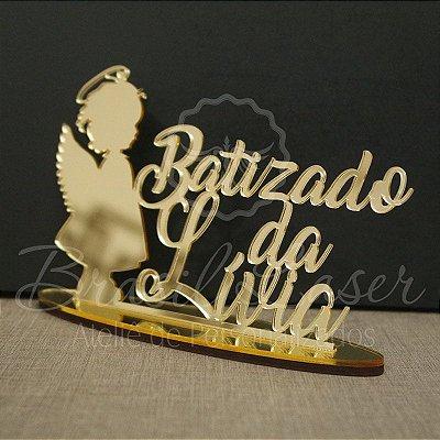 Topo de Bolo Anjinha Batizado (Personalizado com Nome que o Cliente Desejar) - TBV 01098A