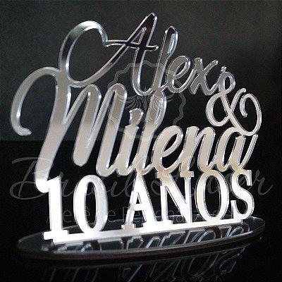 Topo de Bolo (Personalizado com Nomes e Idade Casal que o Cliente Desejar) - TBV 01106A
