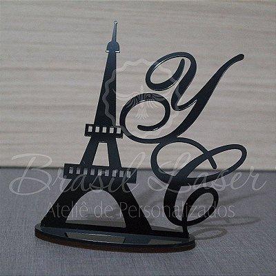 Topo de Bolo Paris Torre Eiffel Paris (Personalizado com Iniciais do Casal ou Noivos que o Cliente Desejar) - TBV 01110A