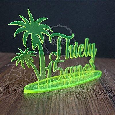 Topo de Bolo Coqueiros Ilha (Personalizado com Nome e Idade que o Cliente Desejar) - TBV 01140A