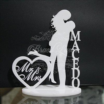 Topo de Bolo Casal Mr &  Mrs Coração (Personalizado com o Sobrenome que o Cliente Desejar) - TBC 00504J