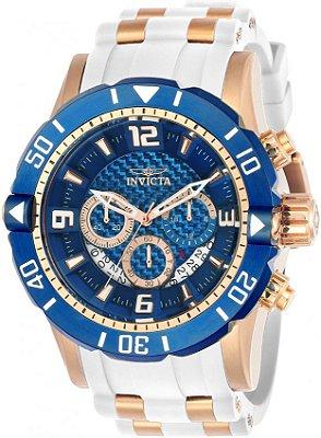 9c5aa18d699 Relogio Invicta Original Pro Diver 23709 Banhado A Ouro Rose Mostrador Azul  50mm
