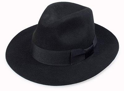 Chapéu Fedora Preto 100% Lã Aba Reta 7cm Premium Hats