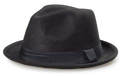 Chapéu Fedora Preto Aba Curva 4cm