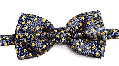 Gravata Borboleta Coração Azul Marinho e Amarelo
