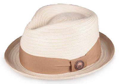 Chapéu Fedora Palha Creme Aba Curva 4cm