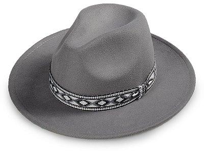 Chapéu Fedora Cinza Faixa Incas Aba Média Reta 7cm