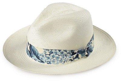 Chapéu Panamá 100% Palha Montecristi Aba Média Faixa Flower Azul
