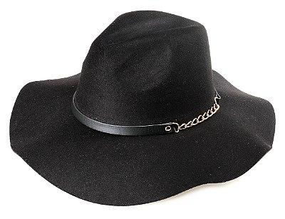Chapéu Fedora Preto Aba Média Maleável 9,5 cm Couro com Corrente Dourada