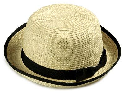 Chapéu Coco Palha Bege Aba média 6 cm Laço