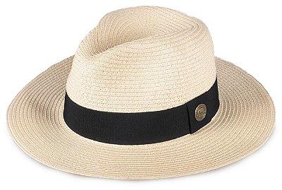 Chapéu Fedora Bege Palha Aba Grande 8cm