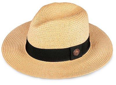 Chapéu Fedora Caramelo Palha Aba Grande 8cm