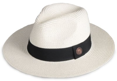 Chapéu Fedora Creme Palha Aba Grande 8cm