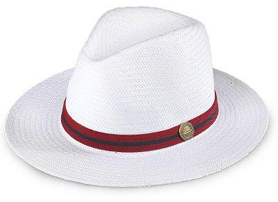 Chapéu Palha Shantung Branco Aba Média Faixa Vermelho e Azul