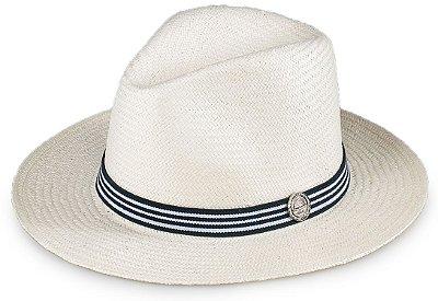 Chapéu Estilo Panamá Aba Média Palha Shantung Natural Faixa Listrada Preto e Branco